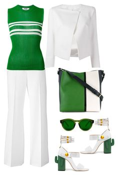 """#green and ?#green and white"" by andrea-jones-4 ❤ liked on Polyvore featuring MR by Man Repeller, MSGM, Lanvin and Plein Sud Jeanius"
