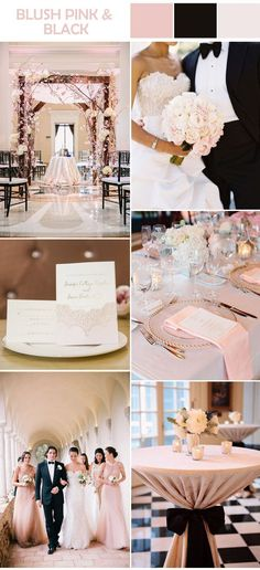 blush pink and black elegant formal weddings