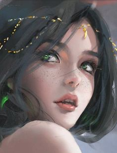 Artistic in 2019 anime art, fantasy art, fantasy artwork. Digital Art Girl, Digital Portrait, Fantasy Girl, Fantasy Artwork, Anime Art Girl, Cartoon Art, Amazing Art, Character Art, Leaves