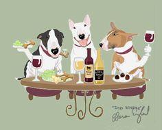 WINEing Bull Terrier - 11x14 Matted Print Sara England De...