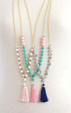 Trendy Long Beaded Tassel Necklaces - 3 Styles | Jane