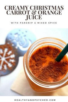 creamy carrot and orange juice with cinnamon and mixed spice perfect for christmas Easy Juice Recipes, Vegan Recipes Easy, Drink Recipes, Orange Carrot Juice, Healthy Juices, Healthy Smoothies, Healthy Foods, Vegan Christmas, Christmas Fun