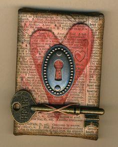 Altered Art with Heart and Skeleton Key.  ATC size canvas by amaryllisroze, via Flickr