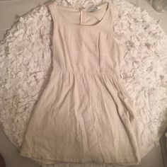 Beige Linen Dress Gently worn beige linen dress! Runs small. Small makeup spot on neckline- will come out with wash! Has belt loops as well- super cute! Forever 21 Dresses