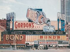Richard Estes, Times Square New York City, Oil on Masonite, 1970's