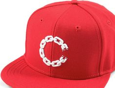 Chain C Red Snapback Cap by CROOKS AND CASTLES Custom Caps, Crooks And Castles, Snapback Cap, Headgear, Street Wear, Baseball Hats, Wool, Chain, Sneakers