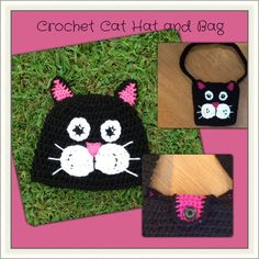 Crochet Cat Hat and Bag Pattern on Craftsy.com $4.99 instant download