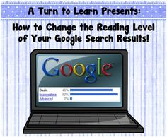 """Do you want to find informational websites to use with your class that have a bit more """"child-friendly"""" vocabulary?  Use this neat trick to change the reading level of your google search results!"""