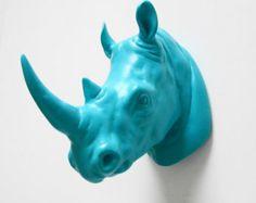 Kruger, Rhino Head, Faux Taxidermy, Rhino, Faux Taxidermied, Faux Rhino Head, Faux Animal Head, Blue Rhino Head, Hodi Home Decor