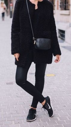 All black with a final touch of nike rouche - casual chic