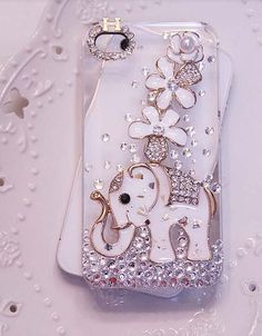 Apple iphone 4/4s iphone 5 Phone Case Charms Handmade Blingbing Rhinestones Crystals Flowers Enemal Elephant