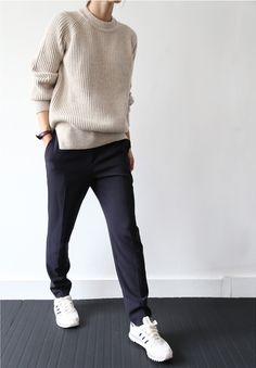 beige sweater, black casual pants