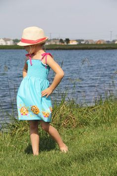 How to sew a quick and easy 20 minute sundress from shirred fabric panels, or pre-smocked fabric using only one seam.