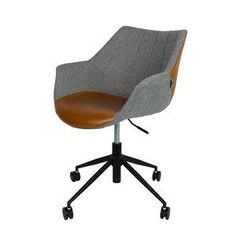 Originele design bureaustoel in grijze stof gecombineerd met bruin kunstleer van het merk Zuiver.
