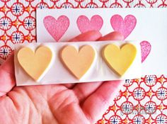 love heart rubber stamp. hand carved rubber stamp. 3 love hearts. for valentine. for wedding.