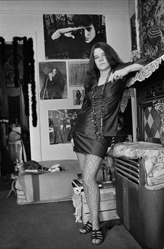 Janis Joplin in her apartment on Lyon Street in San Francisco, California in…