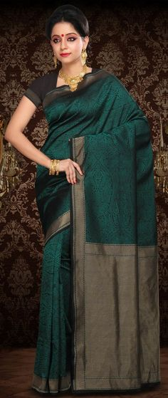 #Black and Teal Pure #Banarasi Summer #Silk Handloom #Saree With Blouse @ $192.34 | Shop @ http://www.utsavfashion.com/store/sarees-large.aspx?icode=snn66