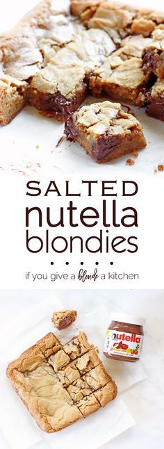 These delicious 50 Easy Nutella dessert recipes. Enjoy Nutella Brownies, Nutella Cookies and even Nutella are incredibly easy to make. Chewy Blondies Recipe, Nutella Blondies, Nutella Cheesecake, Strawberry Cheesecake, Cheesecake Bars, Nutella Deserts, Nutella Smoothie, Nutella Bread, Nutella Fudge