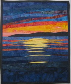 What a pretty sunset art quilt! Ocean Quilt, Beach Quilt, Patchwork Quilting, Landscape Art Quilts, Landscape Edging, Landscape Paintings, Strip Quilts, Quilted Wall Hangings, Custom Quilts