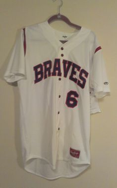 BOBBY COX #6 Atlanta Braves White Rawlings Stitch Sewn Jersey - ADULT LARGE