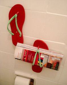 Re-use flip flops. Cute for pool house or just by the pool on a fence to hold your towel ...