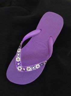 Purple Violet Bridal Wedding Flower Girl Bridesmaid Crystal Havaianas Flip Flops Swarovski Daisy Chain Sandals Shoes Womens Children by GlassSlippersCC on Etsy