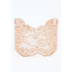 AURELIE BIDERMANN Rose Gold Laser-Cut Vintage Lace Cuff ($725) ❤ liked on Polyvore