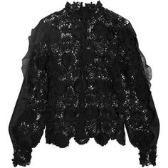 Self-Portrait Naia chiffon-trimmed guipure lace blouse (€225) ❤ liked on Polyvore featuring tops, blouses, black, sheer ruffle blouse, sheer top, floral print blouse, floral lace blouse and sheer lace blouse
