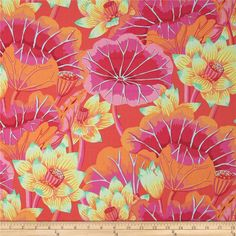 Designed by Kaffe Fassett for Westminster/Rowan Fabrics, this cotton print is perfect for quilting, apparel and home decor accents. Colors include green, mint, aqua, orange, hot pink and tomato.