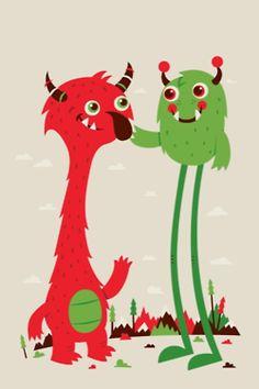 Greg Abbott Illustrations Monster - Poster for my kids? Cute Monster Illustration, Character Illustration, Illustration Art, Robot Monster, Monster Art, Cute Monsters, Little Monsters, Cute Cartoon Drawings, Easy Drawings