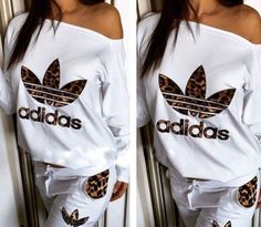 Adidas Women Shoes - Article: Stylish womens leopard print and lwhite sweatsuit - We reveal the news in sneakers for spring summer 2017 Mode Outfits, Sport Outfits, Fashion Outfits, Adidas Outfit, Adidas Pants, Jogging Style, White Tracksuit, Adidas Tracksuit Women, Nike Clothes