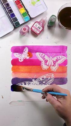Butterfly Watercolor, Butterfly Art, Watercolor And Ink, Watercolor Paintings, Butterflies, Watercolour Tutorials, Watercolor Techniques, Art Techniques, Art Journal Pages
