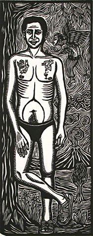 Artemio Rodriguez. Adam, 2000. Linocut. Edition 50.. 9-1/4 x 3-1/2 inches. $150
