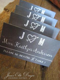 Rustic Sweethearts Chalkboard Vintage Wedding Place Cards by janeeselitedesigns, $95.00