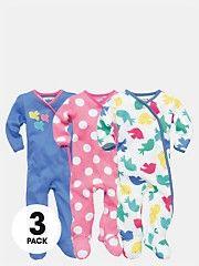 LadybirdBird Print Baby Girls Sleepsuits (3 pack)