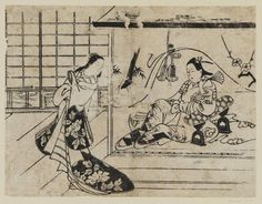 Torii Kiyonobu I / Joruri-hime und Ushiwakamaru