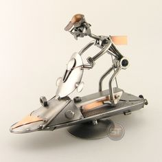 Schraubenmännchen Jet Ski Metal Robot, Jet Skies, Metal Art Sculpture, Junk Art, Metal Artwork, Assemblage Art, Model Ships, Recycled Art, Optical Illusions