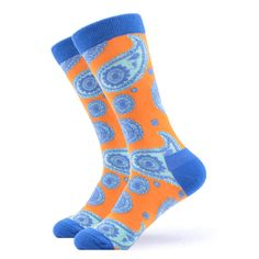 Our Ancient wisdom socks are blue, orange and white in a swirl pattern. The pattern gives a traditional look and is a must for that ancient but cool vibe. Made with 80% Cotton, 17% Nylon, and 3% Spandex, these Unisex socks are perfect for US Size 7.5-12.5 feet. Orange Socks, Blue Socks, Crazy Socks, Cool Socks, Funky Socks For Men, Grumpy Cat Quotes, Swirl Pattern, Happy Socks, Traditional Looks