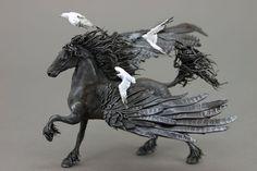 Pegasus with Seagulls Figurine Fantasy Skulpture Horse Guardian Spirit Amulet Shamanic Native