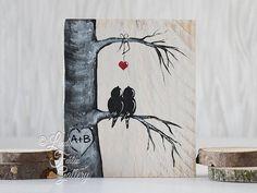 Love Bird Painting on Reclaimed Wood
