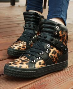 These hi top cheetahs will add a rocky edge to you're look, and the leather keeps it up to date!