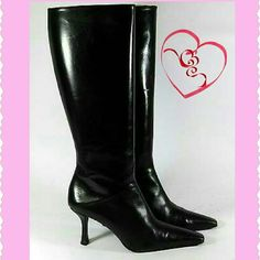 "Stuart Weitzman leather with box & tote Gorgeous Stuart Weitzman black CALF leather boots with 3 1/4"" heel.  Made in Spain.   Size 9.5M.   Like new, only worn 1 day for meeting in NYC.  Boot rises 15"" from heel to below knee.  15.5"" zipper has 1/2"" leather overlap inside to protect stockings!  Includes original BOX & the Bloomingdale's TOTE (used) received at time of purchase.  Note: Any white is camera glare, perfect condition!  *Priced at 45% off retail!  Super elegant & comfortable…"