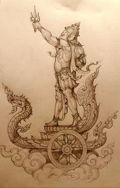 Ganesha Drawing, Ganesha Painting, Ganesha Art, Shiva Art, Krishna Art, Hindu Art, Ganesh Tattoo, Cambodian Art, Lion Head Tattoos