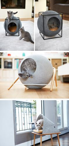 Cat Cocoons Designed To Suit A Contemporary Interior /// Aude Sanchez, a Parisian woman with a background in marketing and communication, has partnered with Guillaume Gadenne, an industrial designer, to create a collection of cat beds under the name Meyou.
