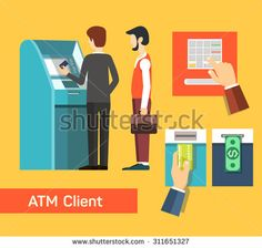 ATM machine money deposit and withdrawal. Payment using credit card. Flat icon…