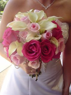 calla lilies and pink roses