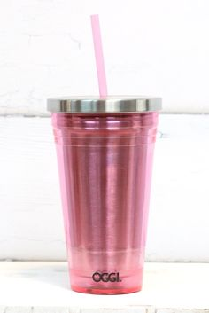 The perfect go-to travel mug is here! Acrylic and stainless steel mug with lid and straw. Pink in color.