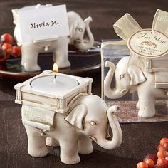 Lucky Elephant Antique Tealight Holder, Ivory