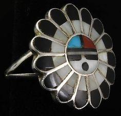 Vintage Zuni Sterling Silver Old Pawn Multi Stone Mosaic Inlay Sunface Ring | eBay