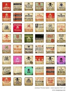 Antique poison pharmacy labels